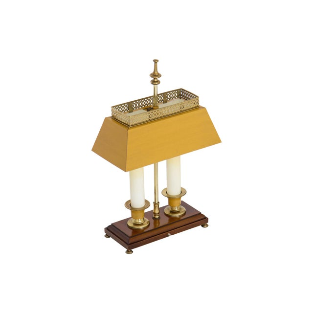 Metal Yellow Bouillotte Lamp For Sale - Image 7 of 7