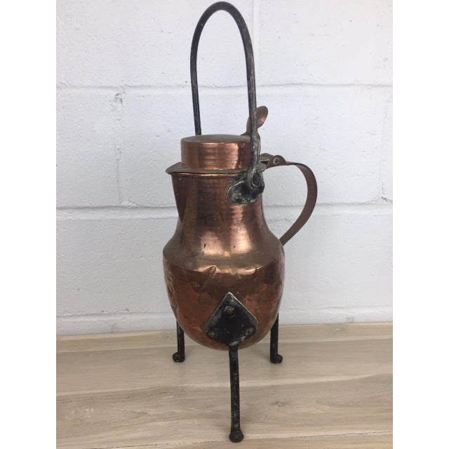 Islamic 19th Century Copper Handmade Lidded Coffee Tea Pot For Sale - Image 3 of 10