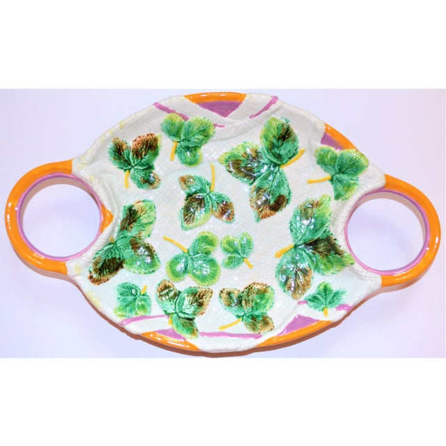 Ceramic Vintage Mottahedeh Majolica Platter For Sale - Image 7 of 7