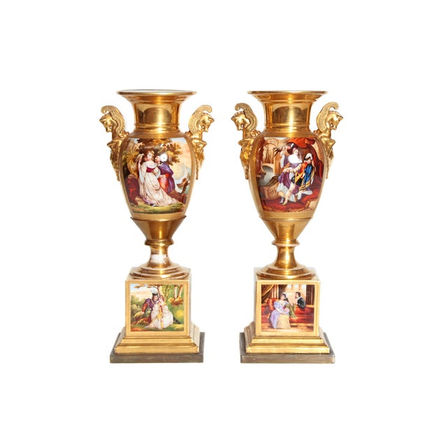 19th Century Pair of French Porcelain Gilt Urns With Scenes For Sale - Image 13 of 13