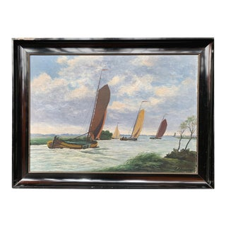 Dutch Seascape Painting With Sailboats For Sale