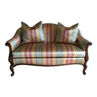 Louis XV Style Silk & Satin Stripe Settee For Sale