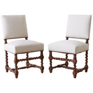 19th Century Pair of English Walnut Barley Twist Chairs For Sale