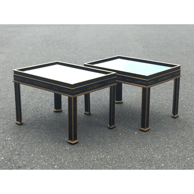 Drexel Sketchbook Chinoiserie Style Black and Gold Lacquer End Tables - a Pair For Sale - Image 9 of 10