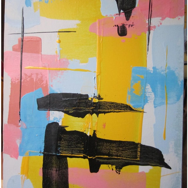 1960s Vintage Jensen Abstract Geometric Vertical Panel Acrylic on Canvas Signed Painting For Sale - Image 4 of 7