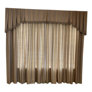 Custom Brown Drapes and Valance, 3 Pieces For Sale
