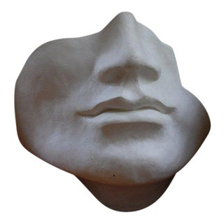 Mid Century Large Scale Faux Plaster Face Sculpture For Sale