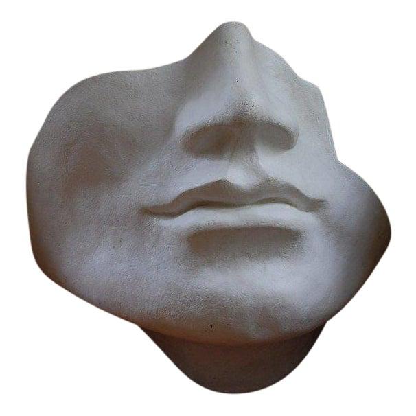 Mid Century Large Scale Faux Plaster Face Sculpture For Sale