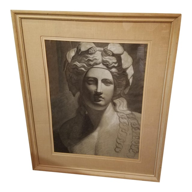 Circa 1900 French Classical Charcoal Drawing of Young Bacchus - Image 1 of 7