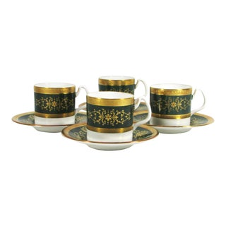 Set of 4 Coalport Lady Anne Green Pattern Gold Encrusted Demitasse Cups and Saucers