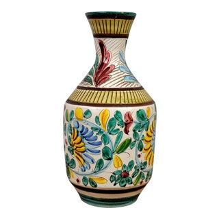 Beautiful Hand- Painted Vintage French Porcelain Signed Vase With Floral Motifs For Sale