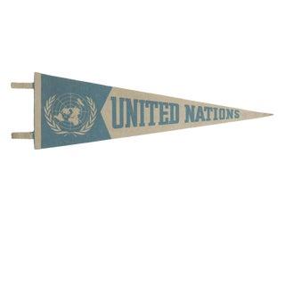 Vintage United Nations Felt Flag Pennant For Sale