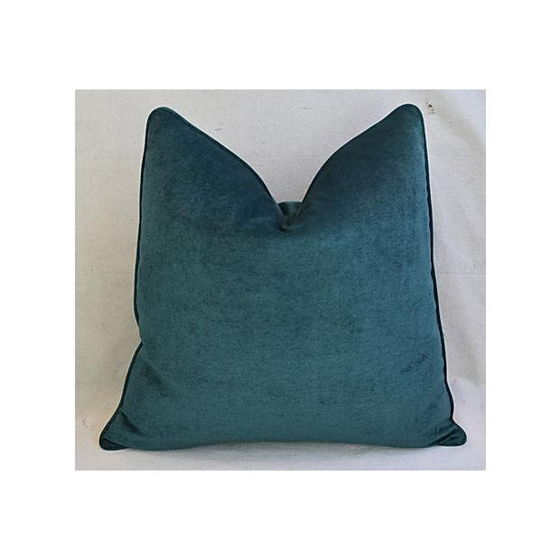 Aqua Marine Green/Turquoise Velvet Feather & Down Pillows - a Pair For Sale - Image 9 of 13
