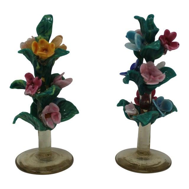 Vintage Antique Miniature Murano Flowers For Sale