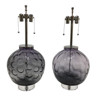 Violet Color Murano Glass and Lucite Table Lamps - a Set of 2 For Sale