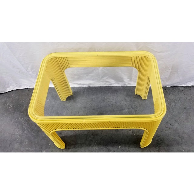 Vintage yellow pencil reed bamboo table in yellow. Wonderful condition for its age and minimal wear. Art Deco, Coastal,...