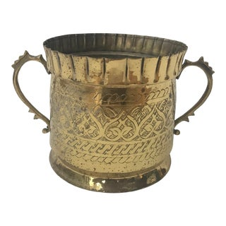 Hand Etched Brass Copper Bottom Planter Wine Cooler For Sale