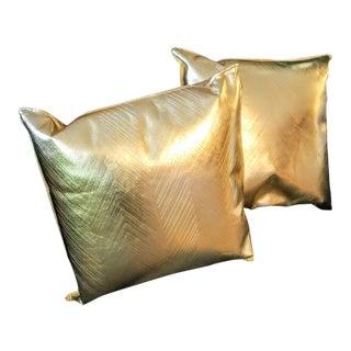 Missoni Home Metallic Gold Chevron Italian Throw Pillows - A Pair For Sale