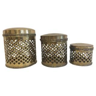1970s Sarreid Pierced Brass Lidded Canisters - Set of 3