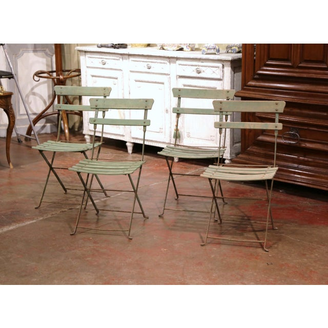 Set of Four 1920s French Iron and Wood Painted Folding Garden Chairs For Sale - Image 13 of 13