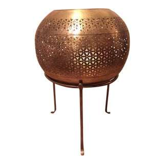 Pierced Brass Footed Container