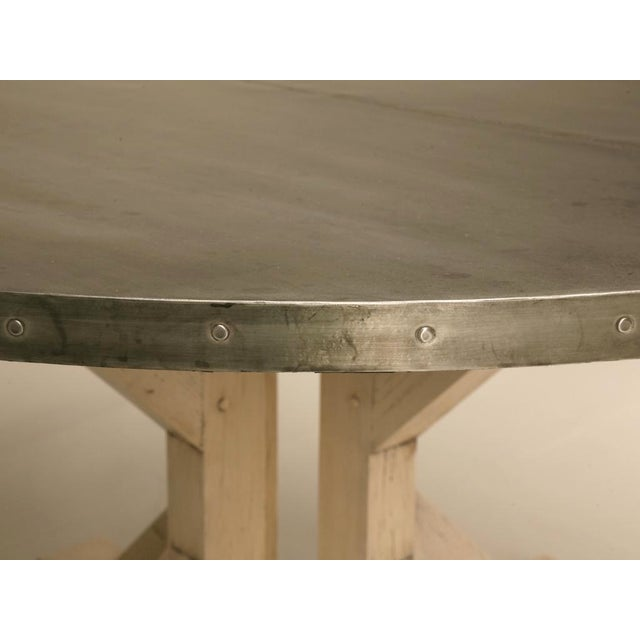 "Metal Amazing French 55"" Round Zinc Topped Dining Table w/Painted Base For Sale - Image 7 of 10"