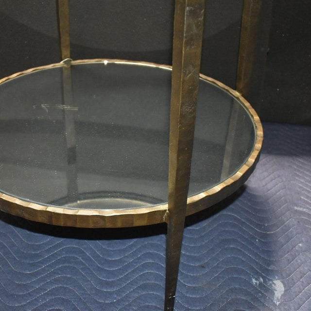 1960s 1960s Mid-Century Modern Hammered Iron Two Tiers Round Side Table For Sale - Image 5 of 9