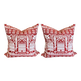Custom Red and White Fabric Euro Pillows - A Pair For Sale