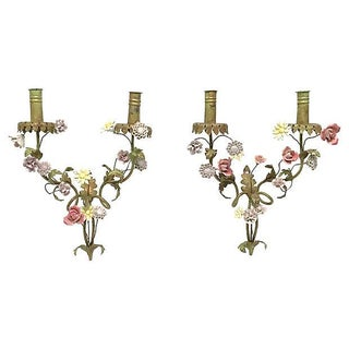 19th Century Antique French Tole & Porcelain Floral Sconces - Pair For Sale