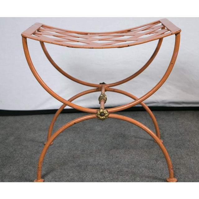 Metal Jean Charles Moreux Burnt Orange Tole Benches - a Pair For Sale - Image 7 of 9