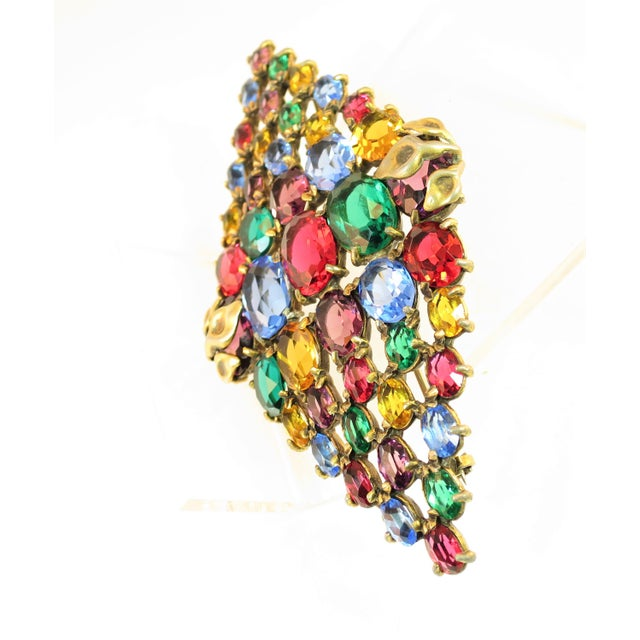 Art Deco Czech Art Deco Jewel-Tone Bohemian Crystal Brooch 1920s For Sale - Image 3 of 12