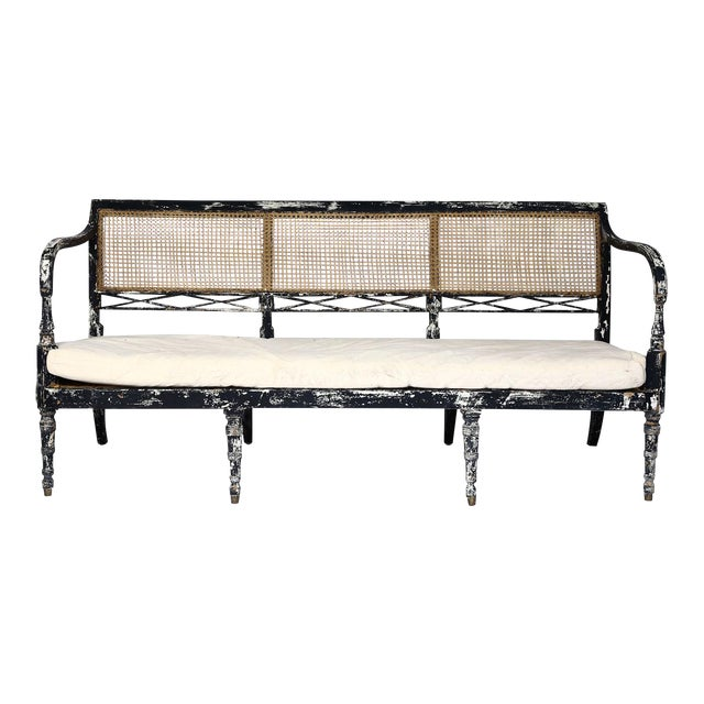 Swedish Cane Back Settee For Sale