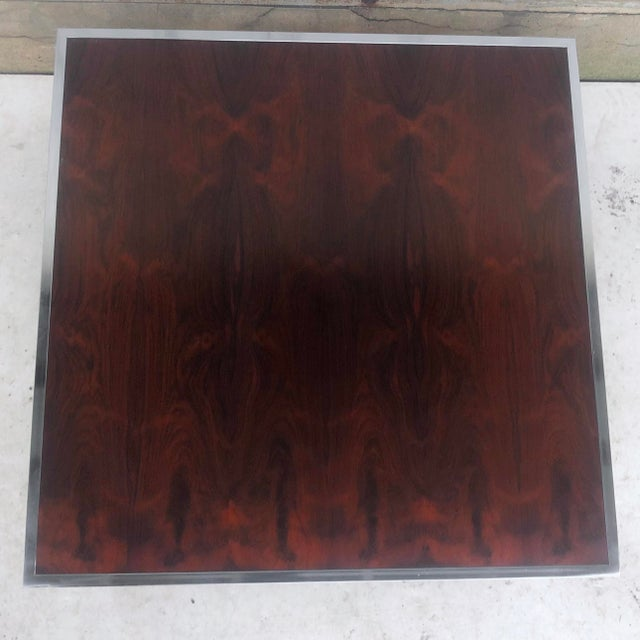 Late 20th Century Vintage Modern Rosewood and Chrome Coffee Table For Sale - Image 5 of 13
