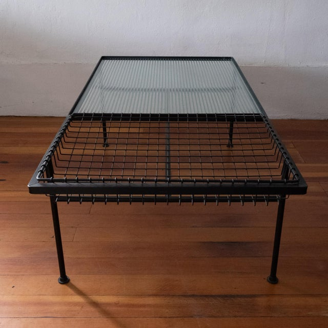 Black Mid Century Modern Iron Coffee Table With Magazine Holder For Sale - Image 8 of 13
