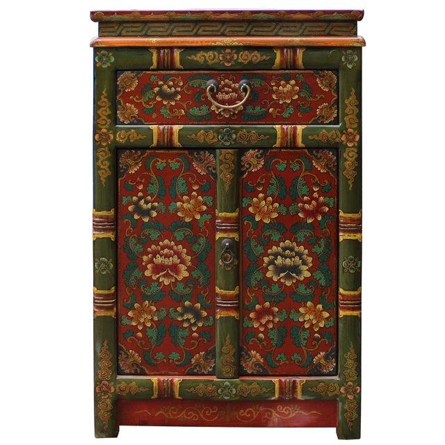 Elm Tibetan Oriental GreenYellow Orange Floral End Table Nightstand For Sale - Image 7 of 8