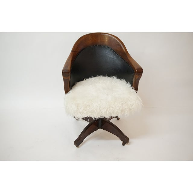 Antique Oak Bankers Swivel Chair With Mongolian Fur - Image 2 of 7