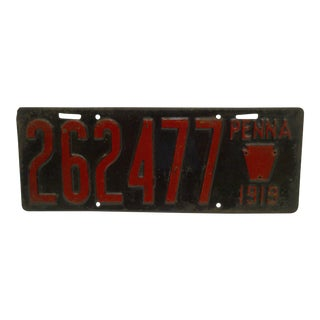 "Vintage Metal Automobile License Plate 1919 PENNA - ""262477"" For Sale"