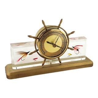Vintage Ships Wheel Fishing Flies Lucite Brass Barometer For Sale