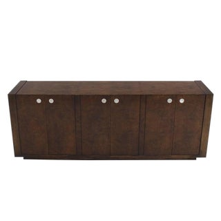 Large Dark Burl Walnut Six Door Credenza Dresser For Sale