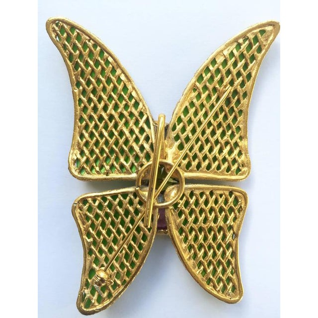 e572c8672f1 Vintage Yves Saint Laurent Green Enamel and Gold Butterfly Pin Ysl For Sale  In Miami -