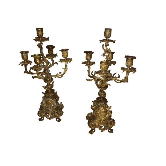 Bronze French Bronze Antique Candelabra - a Pair For Sale - Image 8 of 9
