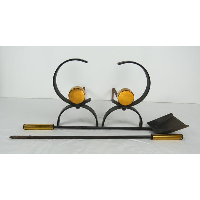 1950s Vintage Donald Deskey Mid-Century Modern Fireplace Set - 5 Pieces For Sale - Image 10 of 13