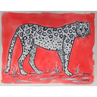 Chinoiserie White Leopard Painting in Red by Cleo Plowden For Sale