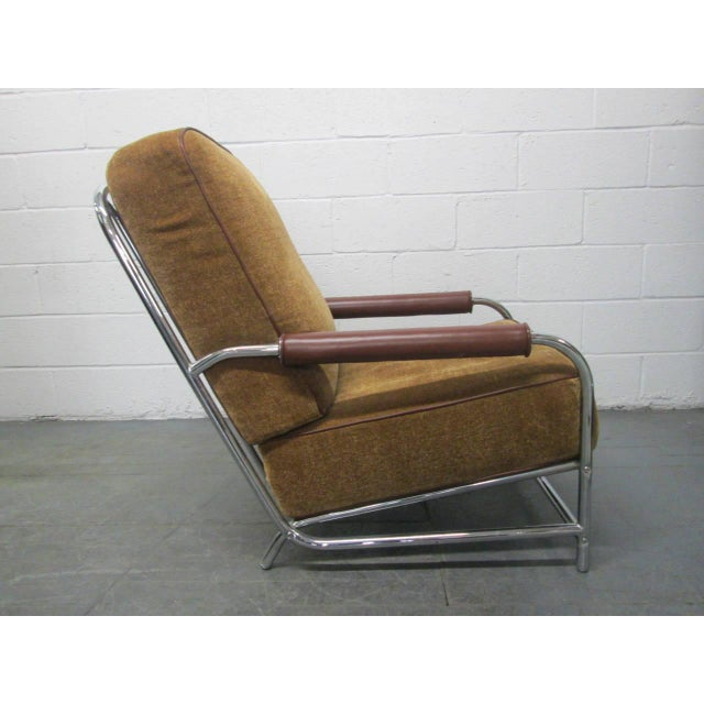 Streamline Chrome Lounge Chair in the style of Gilbert Rohde. Chrome frame, mohair upholstery with leather trimmed arms.