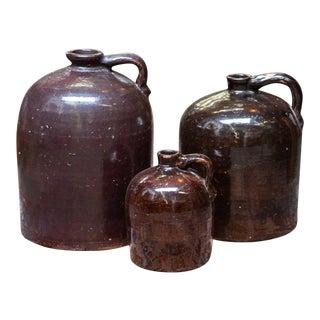 Antique Brown Crocks - Set of 3 For Sale