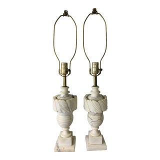 1940s Vintage Carved Alabaster Marble Urn Lamps - a Pair For Sale