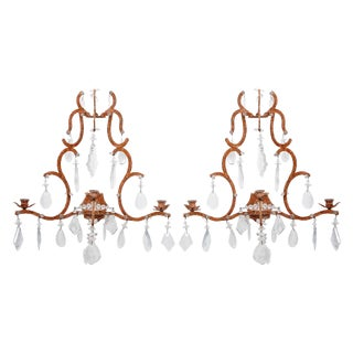 Vintage Rock Crystal & Wrought Iron Sconces - A Pair