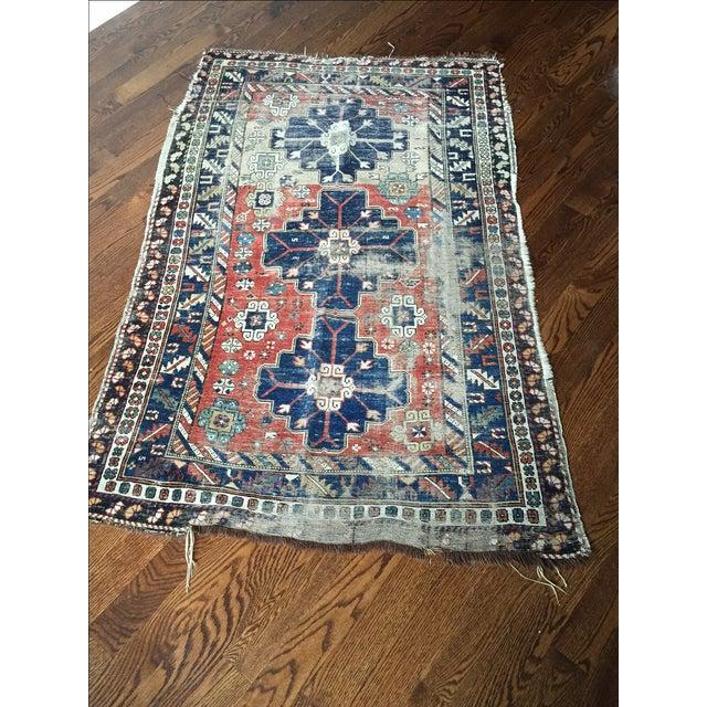 Antique Vintage Caucasian Rug - Image 5 of 7