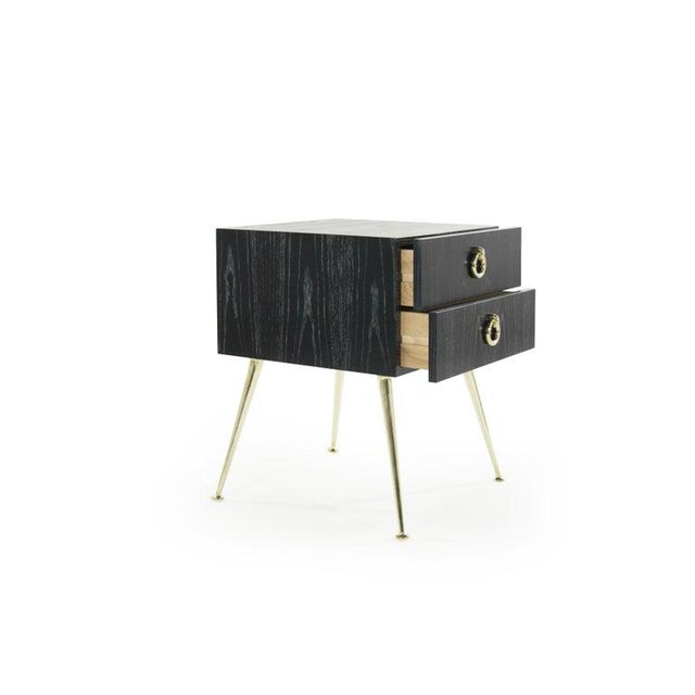 Brass Gibby Collection End Tables in Limed Oak For Sale - Image 7 of 13
