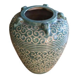 Vintage Green Handmade Vase For Sale